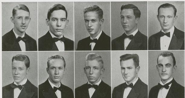 причёски парней коледжа в США 1943 год