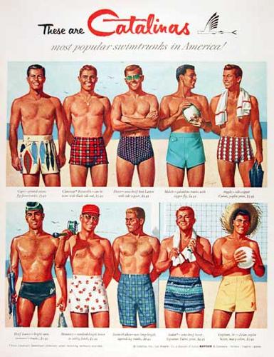 1950-е мужские купальные костюмы и шорты