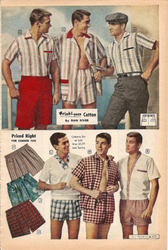 1959 мужские шорты для плавания с рубашками Cabana